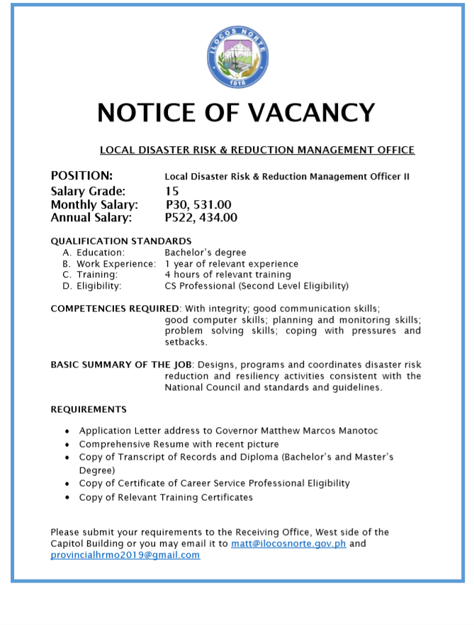 Local Disaster Risk Reduction and Management Officer II