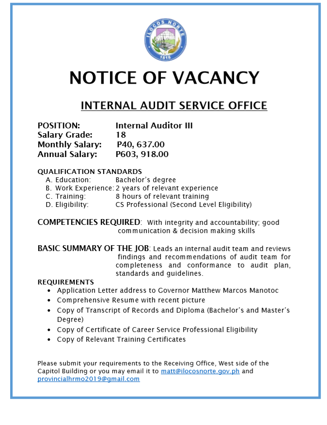 Internal Auditor III